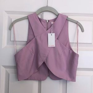 NWT Re:named Lavender Crop Top with Zip Back